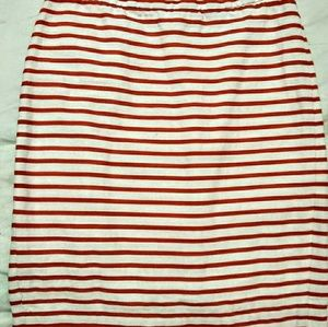 J. Crew Size 0 red and cream pencil skirt